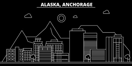 Anchorage silhouette skyline. USA - Anchorage vector city, american linear architecture, buildings. Anchorage line travel illustration, landmarks. USA flat icon, american outline design banner Çizim