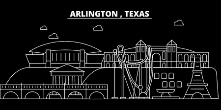 Arlington silhouette skyline. USA - Arlington vector city, american linear architecture, buildings. Arlington line travel illustration, landmarks. USA flat icon, american outline design banner