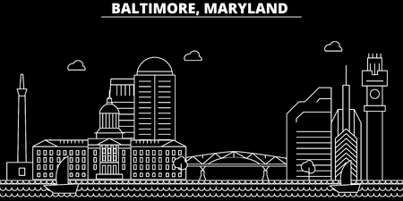Baltimore silhouette skyline. USA - Baltimore vector city, american linear architecture, buildings. Baltimore line travel illustration, landmarks. USA flat icon, american outline design banner Illustration