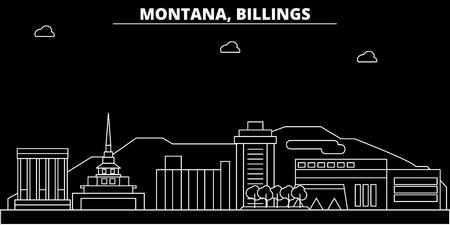 Billings silhouette skyline. USA - Billings vector city, american linear architecture, buildings. Billings line travel illustration, landmarks. USA flat icon, american outline design banner  イラスト・ベクター素材