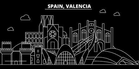 Valencia silhouette skyline. Spain - Valencia vector city, spanish linear architecture, buildings. Valencia line travel illustration, landmarks. Spain flat icon, spanish outline design banner