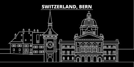 Bern silhouette skyline. Switzerland - Bern vector city, swiss linear architecture, buildings. Bern line travel illustration, landmarks. Switzerland flat icon, swiss outline design banner Illustration