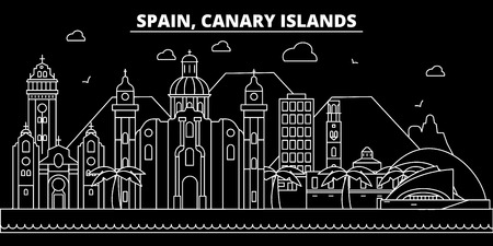 Canarian Islands silhouette skyline. Spain - Canarian Islands vector city, spanish linear architecture, buildings. Canarian Islands line travel illustration, landmarks. Spain flat icon, spanish outline design banner