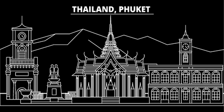 Phuket silhouette skyline. Thailand - Phuket vector city, thai linear architecture, buildings. Phuket line travel illustration, landmarks. Thailand flat icon, thai outline design banner