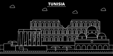 Tunisia silhouette. skyline, vector city, tunisian linear architecture, buildings. Tunisia travel illustration, outline landmarkflat icon, tunisian line banner