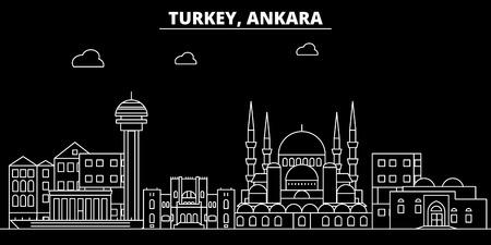 Ankara silhouette skyline. Turkey - Ankara vector city, turkish linear architecture, buildings. Ankara line travel illustration, landmarks. Turkey flat icon, turkish outline design banner