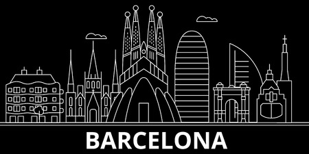 Barcelona silhouette, skyline. Spain - Barcelona vector city, spanish linear architecture, buildings. Barcelona line travel illustration, landmarks. Spain flat icon, spanish outline design banner