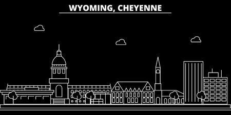 Cheyenne silhouette skyline. USA - Cheyenne vector city, american linear architecture, buildings. Cheyenne line travel illustration, landmarks. USA flat icon, american outline design banner Иллюстрация