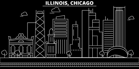 Chicago silhouette skyline. USA - Chicago vector city, american linear architecture, buildings. Chicago line travel illustration, landmarks. USA flat icon, american outline design banner