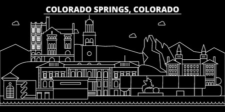 Colorado Springs silhouette skyline. USA - Colorado Springs vector city, american linear architecture, buildings. Colorado Springs line travel illustration, landmarks. USA flat icon, american outline design banner