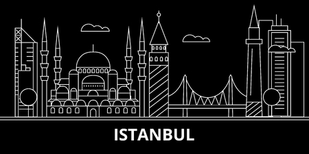 Istanbul silhouette skyline. Turkey - Istanbul vector city, turkish linear architecture, buildings. Istanbul line travel illustration, landmarks. Turkey flat icon, turkish outline design banner Illustration