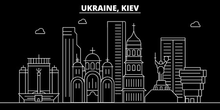 Kiev silhouette skyline. Ukraine - Kiev vector city, ukrainian linear architecture, buildings. Kiev line travel illustration, landmarks. Ukraine flat icon, ukrainian outline design banner