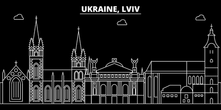 Lviv silhouette skyline. Ukraine - Lviv vector city, ukrainian linear architecture, buildings. Lviv line travel illustration, landmarks. Ukraine flat icon, ukrainian outline design banner