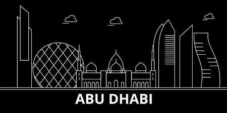 Abu Dhabi city silhouette skyline. United Arab Emirates - Abu Dhabi city vector city, arab linear architecture, buildings. Abu Dhabi city travel illustration, outline landmarks. United Arab Emirates flat icon, arab line design banner