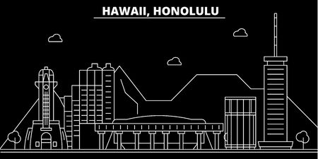Honolulu silhouette skyline. USA - Honolulu vector city, american linear architecture, buildings. Honolulu line travel illustration, landmarks. USA flat icon, american outline design banner Illustration