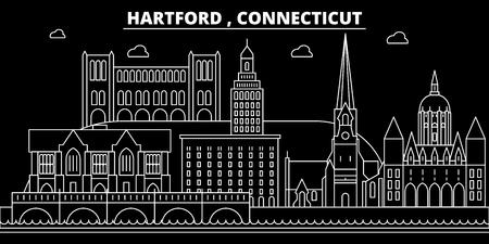 Hartford silhouette skyline. USA - Hartford vector city, american linear architecture, buildings. Hartford line travel illustration, landmarks. USA flat icon, american outline design banner Illustration