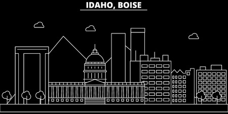 Boise silhouette skyline. USA - Boise vector city, american linear architecture, buildings. Boise line travel illustration, landmarks. USA flat icon, american outline design banner Stock Illustratie