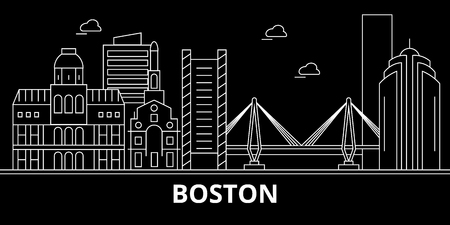 Boston city silhouette skyline. USA - Boston city vector city, american linear architecture, buildings. Boston city line travel illustration, landmarks. USA flat icon, american outline design banner