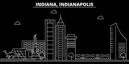 Indianapolis silhouette skyline. USA - Indianapolis vector city, american linear architecture, buildings. Indianapolis line travel illustration, landmarks. USA flat icon, american outline design banner