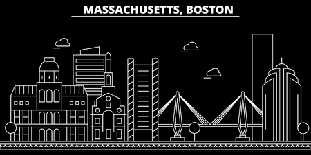 Boston silhouette skyline. USA - Boston vector city, american linear architecture, buildings. Boston line travel illustration, landmarks. USA flat icon, american outline design banner