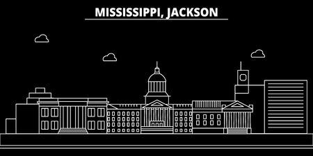 Jackson silhouette skyline. USA - Jackson vector city, american linear architecture, buildings. Jackson line travel illustration, landmarks. USA flat icon, american outline design banner