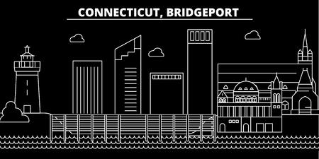 Bridgeport silhouette skyline. USA - Bridgeport vector city, american linear architecture, buildings. Bridgeport line travel illustration, landmarks. USA flat icon, american outline design banner