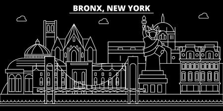 Bronx silhouette skyline. USA - Bronx vector city, american linear architecture, buildings. Bronx line travel illustration, landmarks. USA flat icon, american outline design banner