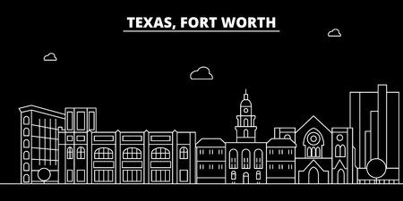 Fort Worth silhouette skyline. USA - Fort Worth vector city, american linear architecture, buildings. Fort Worth line travel illustration, landmarks. USA flat icon, american outline design banner Ilustração