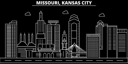 Kansas City silhouette skyline. USA - Kansas City vector city, american linear architecture, buildings. Kansas City line travel illustration, landmarks. USA flat icon, american outline design banner Stock Vector - 102161213