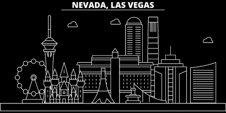 Las Vegas silhouette skyline. USA - Las Vegas vector city, american linear architecture, buildings. Las Vegas line travel illustration, landmarks. USA flat icon, american outline design banner