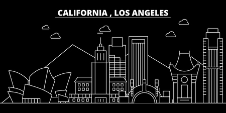 Los Angeles silhouette skyline. USA - Los Angeles vector city, american linear architecture, buildings. Los Angeles line travel illustration, landmarks. USA flat icon, american outline design banner