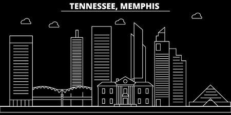 Memphis silhouette skyline. USA - Memphis vector city, american linear architecture, buildings. Memphis line travel illustration, landmarks. USA flat icon, american outline design banner Illustration