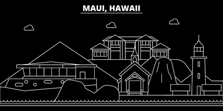 Maui silhouette skyline. USA - Maui vector city, american linear architecture, buildings. Maui line travel illustration, landmarks. USA flat icon, american outline design banner Illustration