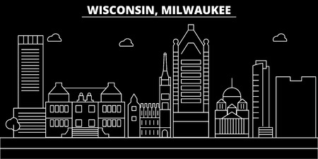 Milwaukee City silhouette skyline. USA - Milwaukee City vector city, american linear architecture, buildings. Milwaukee City line travel illustration, landmarks. USA flat icon, american outline design banner