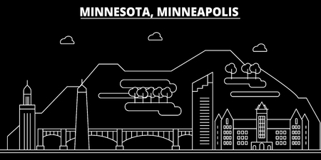 Minneapolis silhouette skyline. USA - Minneapolis vector city, american linear architecture, buildings. Minneapolis line travel illustration, landmarks. USA flat icon, american outline design banner Illustration