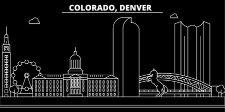Denver silhouette skyline. USA - Denver vector city, american linear architecture, buildings. Denver line travel illustration, landmarks. USA flat icon, american outline design banner