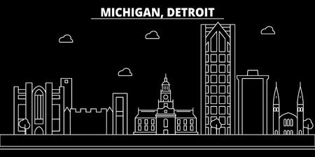 Detroit silhouette skyline. USA - Detroit vector city, american linear architecture, buildings. Detroit line travel illustration, landmarks. USA flat icon, american outline design banner