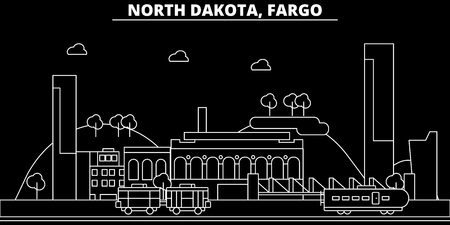 Fargo silhouette skyline. USA - Fargo vector city, american linear architecture, buildings. Fargo line travel illustration, landmarks. USA flat icon, american outline design banner