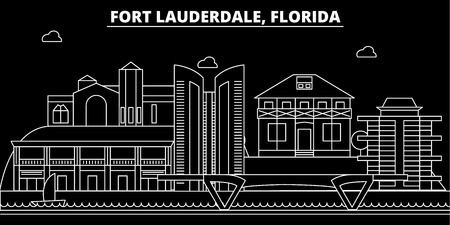 Fort Lauderdale silhouette skyline. USA - Fort Lauderdale vector city, american linear architecture, buildings. Fort Lauderdale line travel illustration, landmarks. USA flat icon, american outline design banner