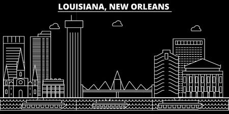 New Orleans silhouette skyline. USA - New Orleans vector city, american linear architecture, buildings. New Orleans line travel illustration, landmarks. USA flat icon, american outline design banner Stock Vector - 102161280