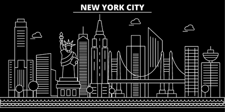 New York City silhouette skyline. USA - New York City vector city, american linear architecture, buildings. New York City line travel illustration, landmarks. USA flat icon, american outline design banner Ilustração