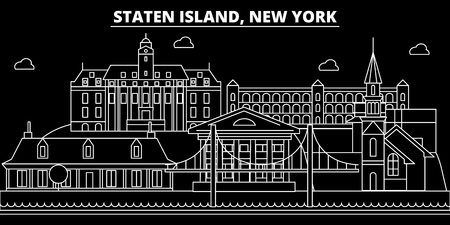 New York City silhouette skyline. USA - New York City vector city, american linear architecture, buildings. New York City line travel illustration, landmarks. USA flat icon, american outline design banner Illustration