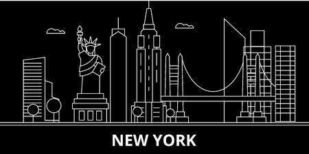 New York City silhouette skyline. USA - New York City vector city, american linear architecture, buildings. New York City line travel illustration, landmarks. USA flat icon, american outline design banner Zdjęcie Seryjne - 102161284