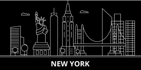 New York City silhouette skyline. USA - New York City vector city, american linear architecture, buildings. New York City line travel illustration, landmarks. USA flat icon, american outline design banner Illustration