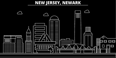 Newark silhouette skyline. USA - Newark vector city, american linear architecture, buildings. Newark line travel illustration, landmarks. USA flat icon, american outline design banner