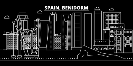 Benidorm silhouette skyline. Spain - Benidorm vector city, spanish linear architecture, buildings. Benidorm line travel illustration, landmarks. Spain flat icon, spanish outline design banner