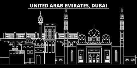 Dubai silhouette skyline. United Arab Emirates - Dubai vector city, arab linear architecture, buildings. Dubai city line travel illustration, landmarks. United Arab Emirates flat icon, arab outline design banner Banque d'images - 102161287