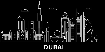 Dubai silhouette skyline. United Arab Emirates - Dubai vector city, arab linear architecture, buildings. Dubai line travel illustration, landmarks. United Arab Emirates flat icon, arab outline design banner Çizim