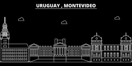 Montevideo silhouette skyline. Uruguay - Montevideo vector city, uruguayan linear architecture, buildings. Montevideo line travel illustration, landmarks. Uruguay flat icon, uruguayan outline design banner
