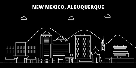 Albuquerque silhouette skyline. USA - Albuquerque vector city, american linear architecture, buildings. Albuquerque travel illustration, outline landmarks. USA flat icon, american line design banner Illustration